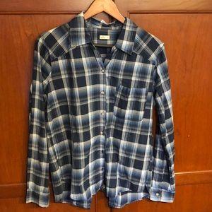 Hollister Blue Plaid Long Sleeved Shirt, Slit back